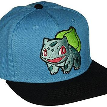 BIOWORLD Pokemon Bulbasaur Embroidered Snapback Cap Hat, Blue