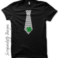 St. Patrick's Day Tie Shirt - Green Shamrock Chevron Tie Tshirt / Boys St Patricks Day Shirt / Mens Celtic Shirt / Toddler Shamrock Outfit