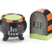 Halloween Tombstone & Witch Cauldron Salt & Pepper Shaker Set