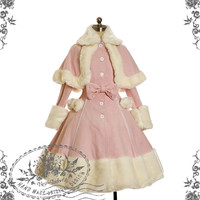 Sweet Gothic Lolita Warm Fur Wool Coat&Fur Cape