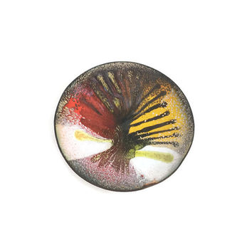 Mid century  Enamel on Copper wall art Vintage small curved dish Abstract Tree