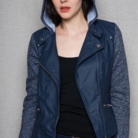 New Look Faux Leather Moto Jacket With Contrast Sleeves & Hood - Navy
