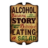 ALCOHOL Wood Plaque Bar Sign Tavern-Shaped