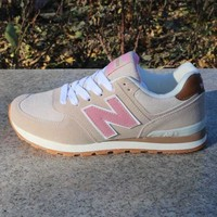 fashion online women men casual running new balance sport shoes sneakers rice pink