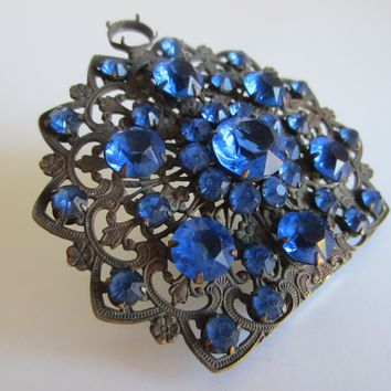 Art Deco Dress Clip Blue Glass Stones Cabochons Open Work