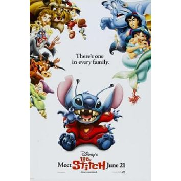 Lilo And Stitch Movie poster Metal Sign Wall Art 8in x 12in