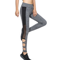 2017 Activewear Mesh Legging Sexy Grey Leggins Black Leggings Spliced Women Autumn Winter Workout Leggings High Waist Leggings