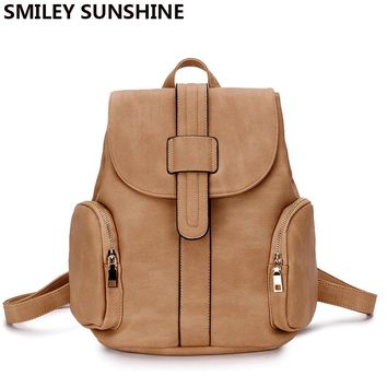 SMILEY SUNSHINE preppy style backpack youth schoolbag artificial leather fashion women back pack with two pocket for teens girls