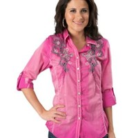 Roar® Women's Round Up Magenta with Fleur De Lis Embroidery 3/4-Long Sleeve Western Shirt