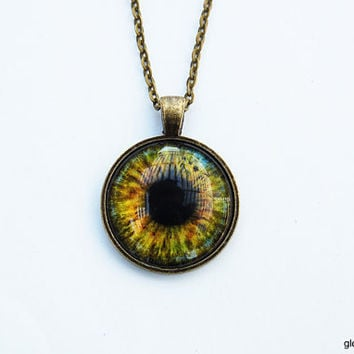 Hazel Glass Eye Necklace / Eyeball Necklace / Glass Dome Eye Necklace / Human Iris Necklace