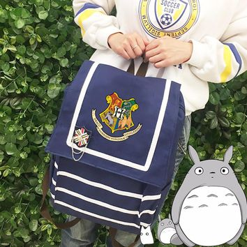 Navy wind Harry Potter backpack  Canvas backpack teenagers Men women's Student School Bags travel Shoulder Bag Laptop Bags