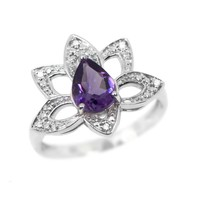 Sterling Silver Pear Amethyst & Diamond Lotus Flower Ring