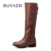 2017 autumn winter women's boots long knee high PU leather boot flat knight Botas femininas motorcycle heel shoes tide size 42
