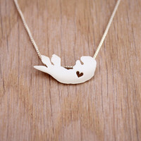 Sea Otter necklace, tiny sterling silver hand cut pendant with heart