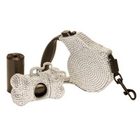COMBO PACK Silver Crystal Case Rhinestone Retractable Dog Leash and Waste Bag Dispenser Holder with Bags