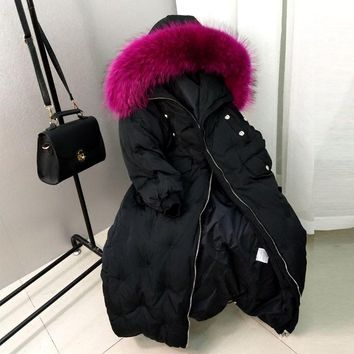Winter Parkas Loose Korean Casual Big Real Raccoon Fur Collar Down Warm Jacket Female Long Thick Knee Length Coat Tide MZ1878