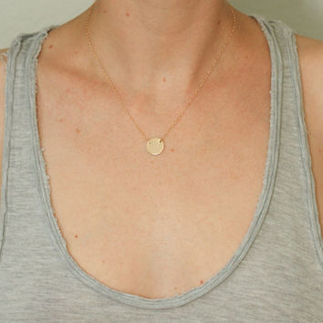 Gold disc necklace - dainty gold necklace - dainty gold jewelry - delicate gold necklace - gold filled jewelry - gold circle necklace