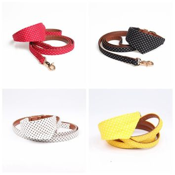 4 Colors Dot Small Dog Collar Bandana Soft Leather Dog Leash Cute Bow Cat Collar Pet Teacup Chihuahua Collar Leash Lead