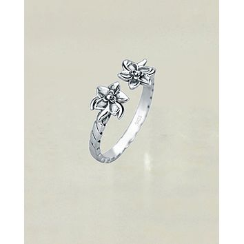 Lotus Buds Sterling Silver Oxidized Ring - Adjustable
