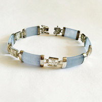 Vintage Sterling Silver Chinese Export Jewelry Bracelet with Blue Jade Bars separated with Chinese Good Luck Symbols