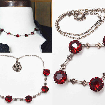 Vintage Art Deco Sterling Silver Red Crystal Necklace, Open Back, Pointed Back, Quatrefoil, Floral, Milgrain, Rich Red! #c184