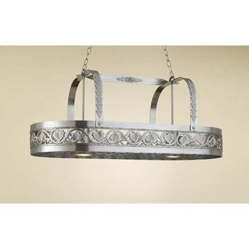 Hi-Lite H-82Y-D-11 Leaf Satin Steel Lighted Pot Rack