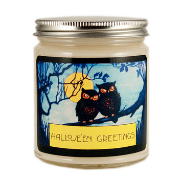 Halloween Owls Candle, Custom Scented Candle, Vintage Candle, Vintage Halloween Candle, Container Candle, Soy Candle, Halloween Candle