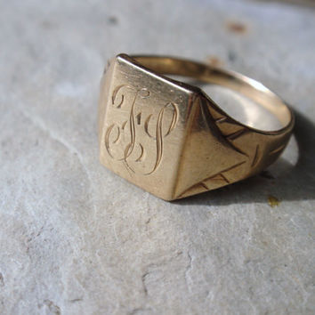 Victorian Signet Ring 10k Gold vintage letter F S ladies initial monogram size 5 mans pinky