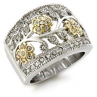 Women's Two Tone Swarovski Crystal Floral Motif Ring