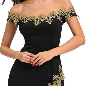 Off-Shoulder Split Gold Lace Short Bodycon Dress
