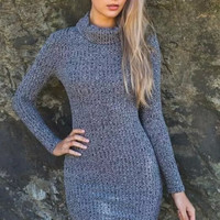 Gray Turtle-Neck Long-Sleeve Knitted Dress