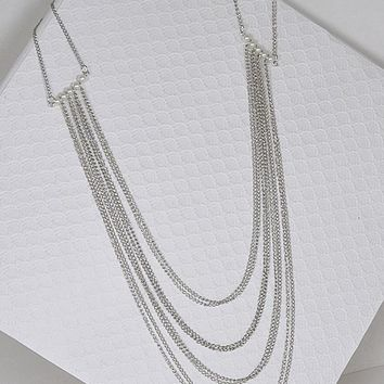 Layered Bead Chain Necklace with Pearl Embellishment