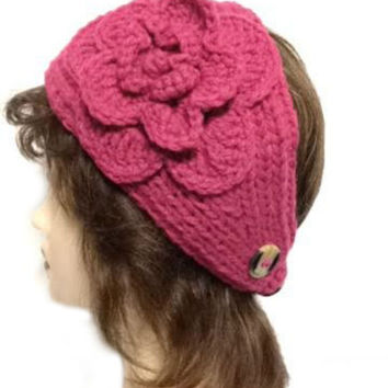 Women's Pink Large Crochet Flower Adjustable 2 Button Stretch Headband Ear Warmer Crochet Headband