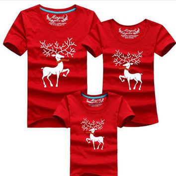 VONEML3 Christmas Family Look Family Matching Outfits T-shirt Color Milu Deer Matching Family Clothes Mother Father Baby Short Sleeve