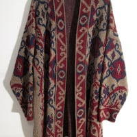 Psychedelic Sweater Jacket XS S M L XL Lebowski Robe Tunic Coat Bohemian Hipster Hippie Gypsy Club Kid Acid Grunge Boho 70s Maroon Festival