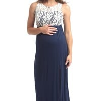 Navy Blue Lace Top Maternity Maxi Dress