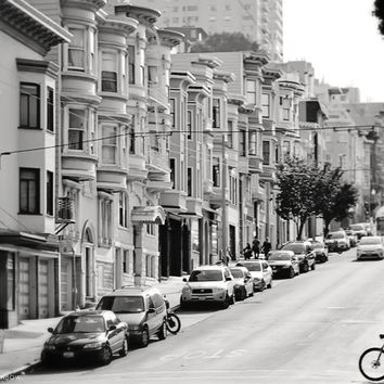 San Francisco Photography Art Print - 8x10 - Bicycle, Architecture, Staggered San Fran Houses, Urban Life, City, Silhouette, Black and White