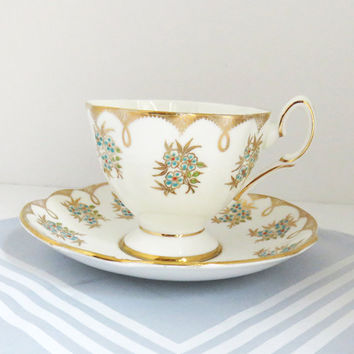 Salisbury Bone China Teacup and Saucer gold-edged turquoise flowers - English tea set