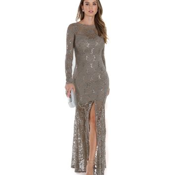 Carma- Taupe Prom Dress