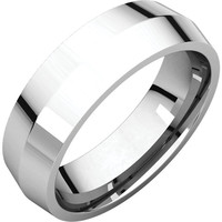 10k White Gold 4mm Knife Edge Comfort Fit Wedding Band Ring - Bridal Jewelry: RingSize: 00