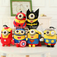 6pcs/lot 20CM The Avengers Minions Captain America Superman Spider-Man Batman Thor Plush Toy Despicable Me Doll