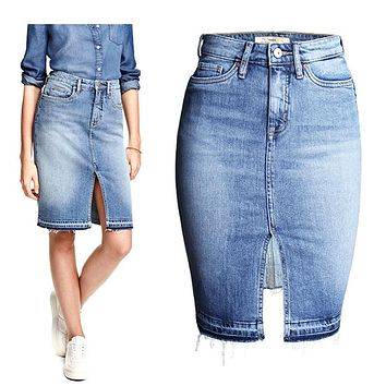 Fashion Denim Skirts Women Front Slit Summer Jeans Skirt Midi High Waist Women Skirt