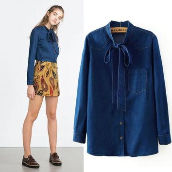 Autumn Butterfly Long Sleeve Denim Shirt [8805257415]