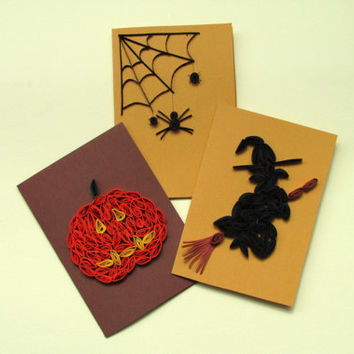 Halloween Quilling Set of 3 Quilled Paper Cards with Spider, Pumpkin and Witch in Orange, Beige, Brown and Black