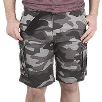 Guys Ripstop Belted Cargo Shorts - Camo Print