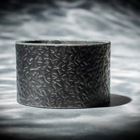 Leather Cuff  - Black Latigo - Embossed with Thorns - Ebony & Brass Fasteners - 2 Inches Wide