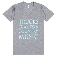 Trucks Cowboys & Country Music-Unisex Athletic Grey T-Shirt