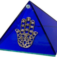 Fatima Hand Glass Pyramid - Cobalt Blue - Storage