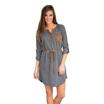 Straight  Loose Dress With Pocket Sexy Printed Mini Dress