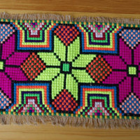 Vintage ethnic cross stitch table runner multicolour Table Decoration Table Topper Table tapestry Poinsettia Star/ etno decor/ cross stiched